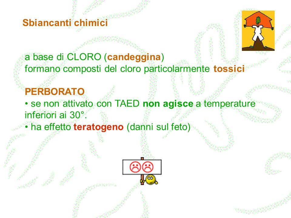 Sbiancanti chimici a base di CLORO (candeggina) formano composti del cloro particolarmente tossici.