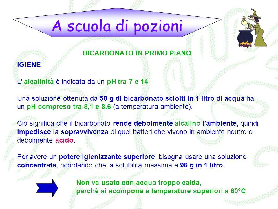 A scuola di pozioni BICARBONATO IN PRIMO PIANO IGIENE