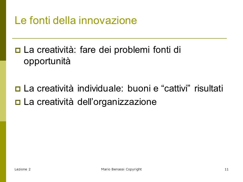 Le fonti della innovazione