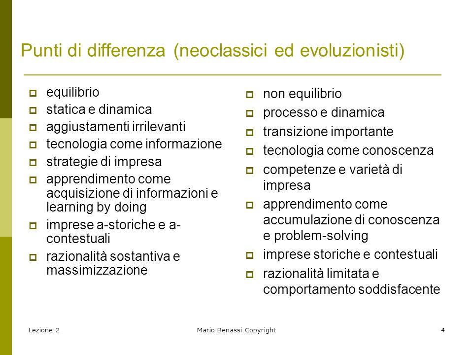 Punti di differenza (neoclassici ed evoluzionisti)