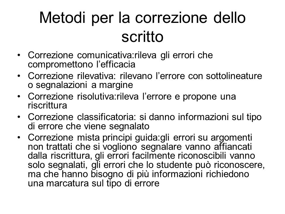 Metodi per la correzione dello scritto
