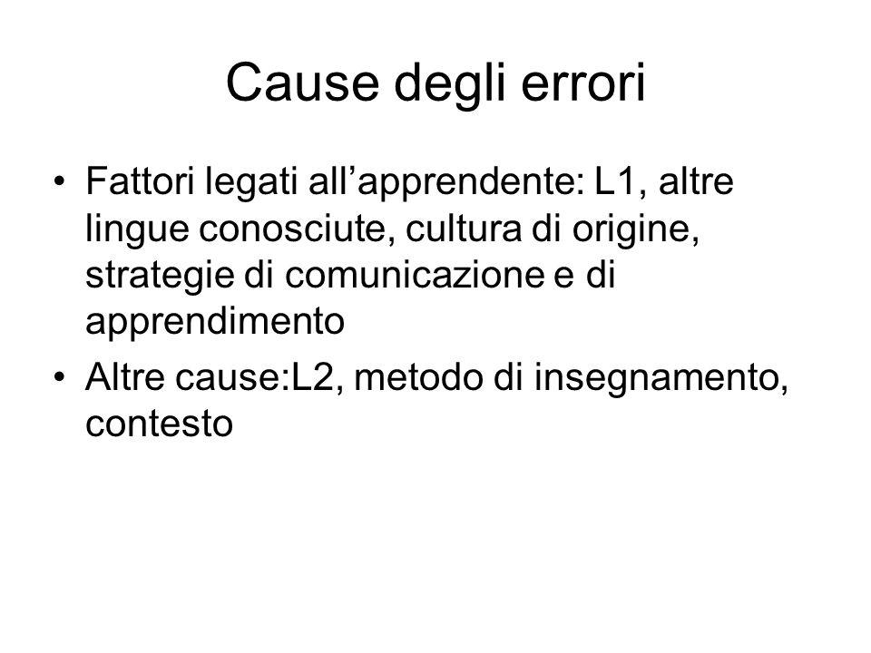 Cause degli errori Fattori legati all'apprendente: L1, altre lingue conosciute, cultura di origine, strategie di comunicazione e di apprendimento.
