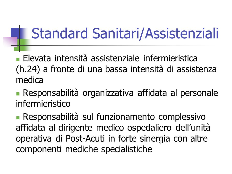 Standard Sanitari/Assistenziali