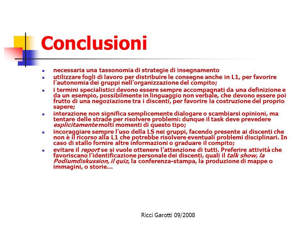 Conclusioni necessaria una tassonomia di strategie di insegnamento