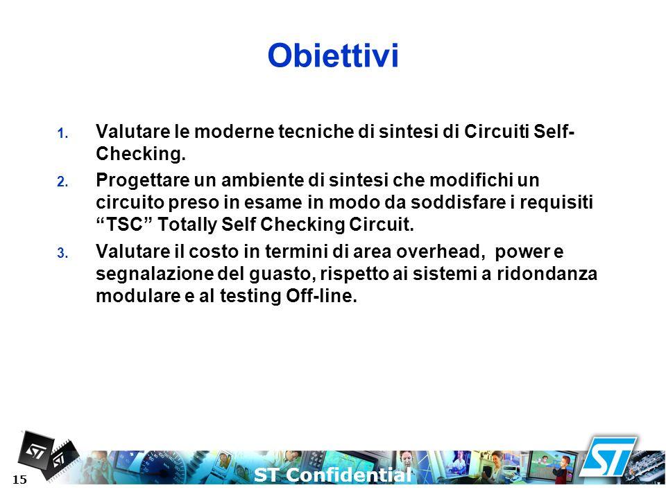 Obiettivi Valutare le moderne tecniche di sintesi di Circuiti Self-Checking.