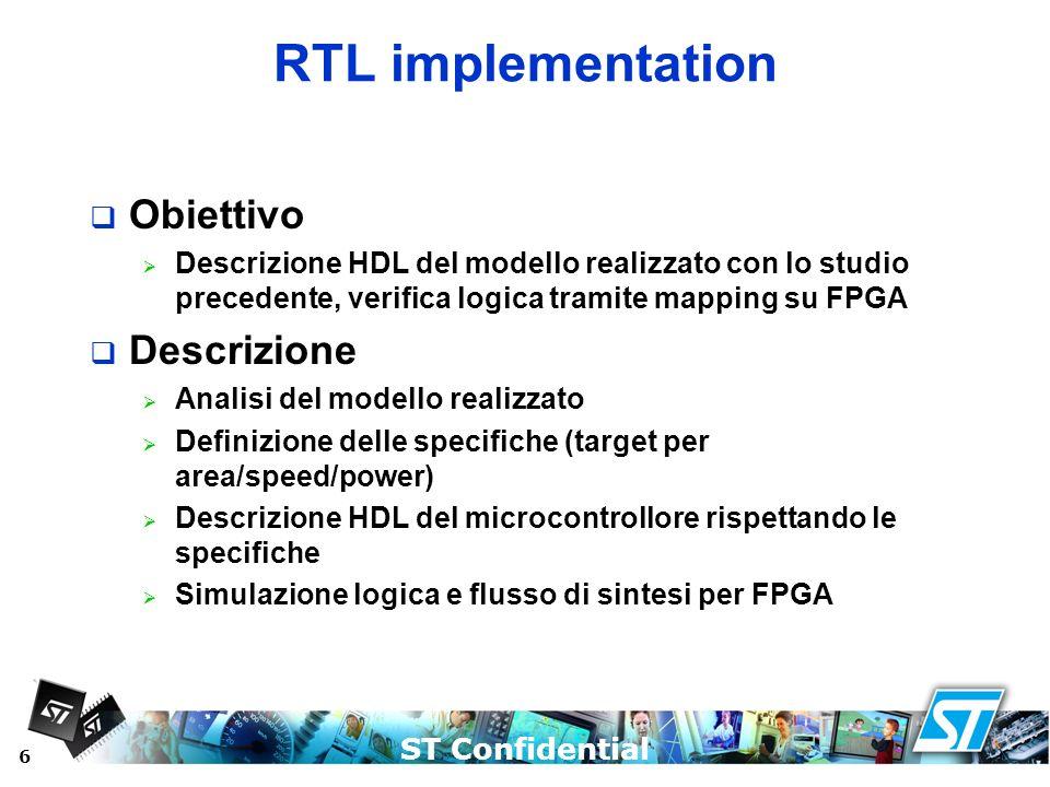 RTL implementation Obiettivo Descrizione