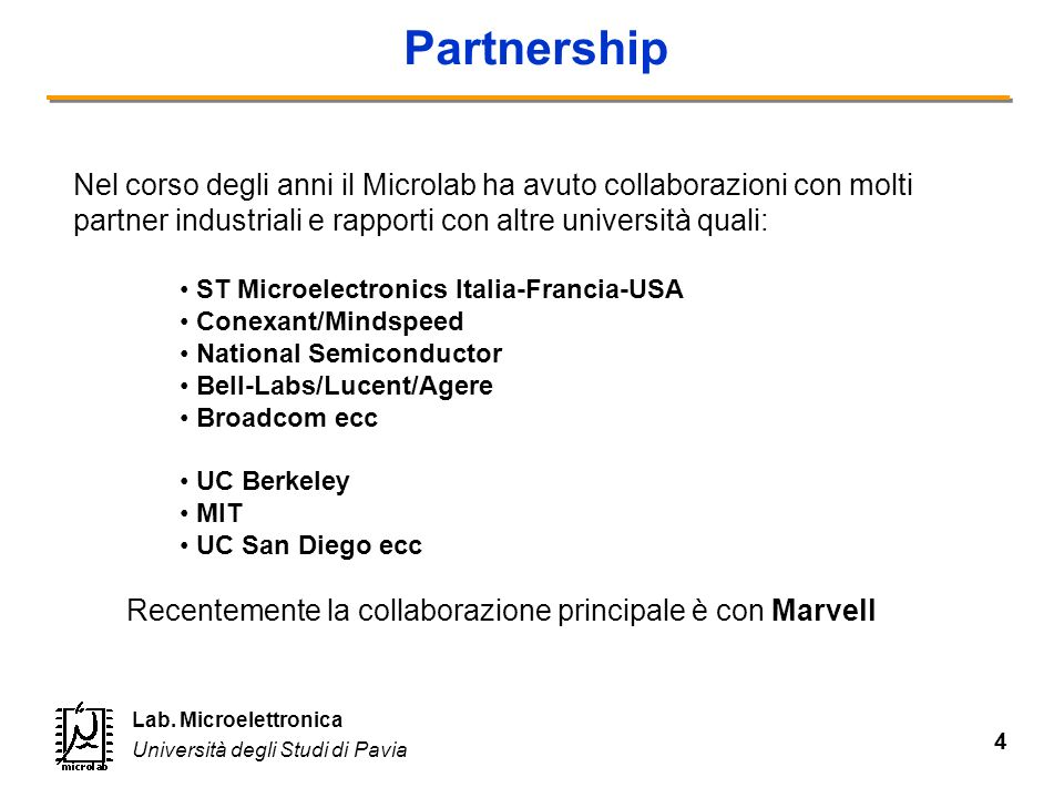 Partnership Nel corso degli anni il Microlab ha avuto collaborazioni con molti partner industriali e rapporti con altre università quali: