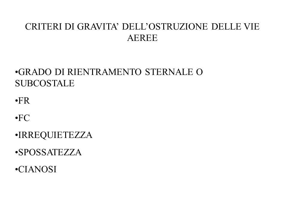 CRITERI DI GRAVITA' DELL'OSTRUZIONE DELLE VIE AEREE