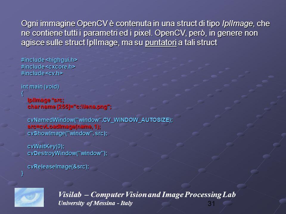 Ogni immagine OpenCV è contenuta in una struct di tipo IplImage, che
