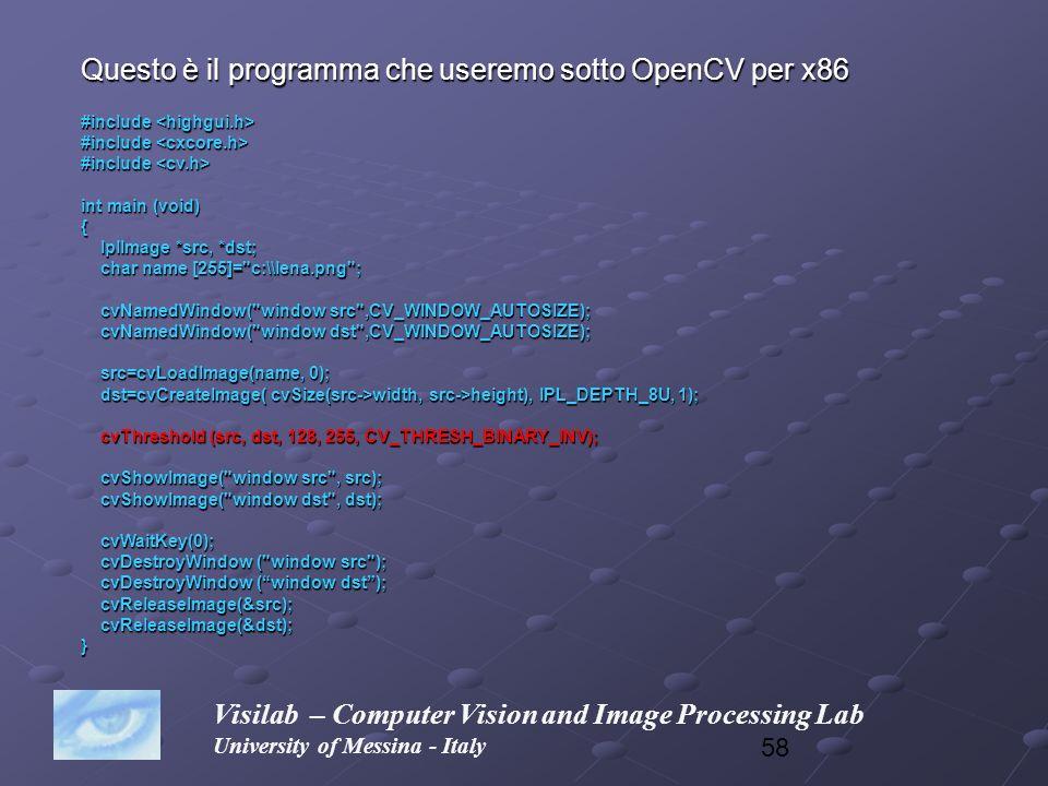 Questo è il programma che useremo sotto OpenCV per x86