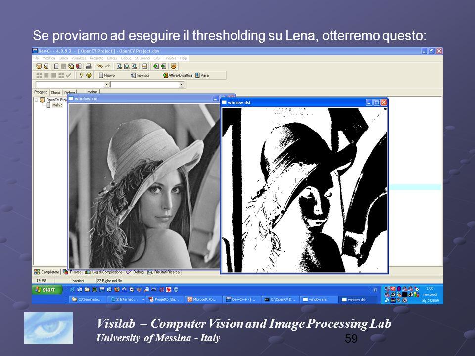 Se proviamo ad eseguire il thresholding su Lena, otterremo questo: