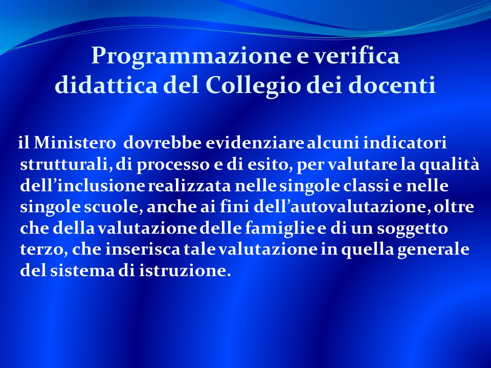 Programmazione e verifica didattica del Collegio dei docenti