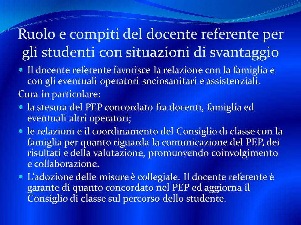 Ruolo e compiti del docente referente per gli studenti con situazioni di svantaggio