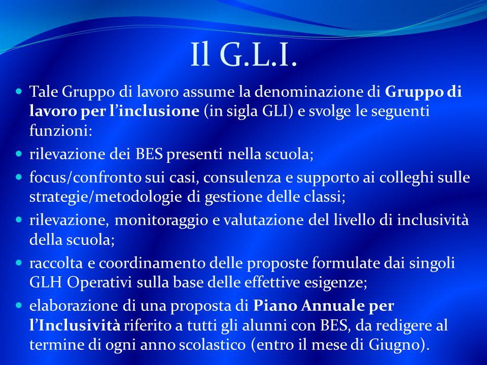 Il G.L.I. Tale Gruppo di lavoro assume la denominazione di Gruppo di lavoro per l'inclusione (in sigla GLI) e svolge le seguenti funzioni: