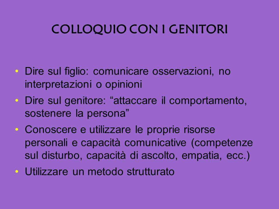 COLLOQUIO CON I GENITORI