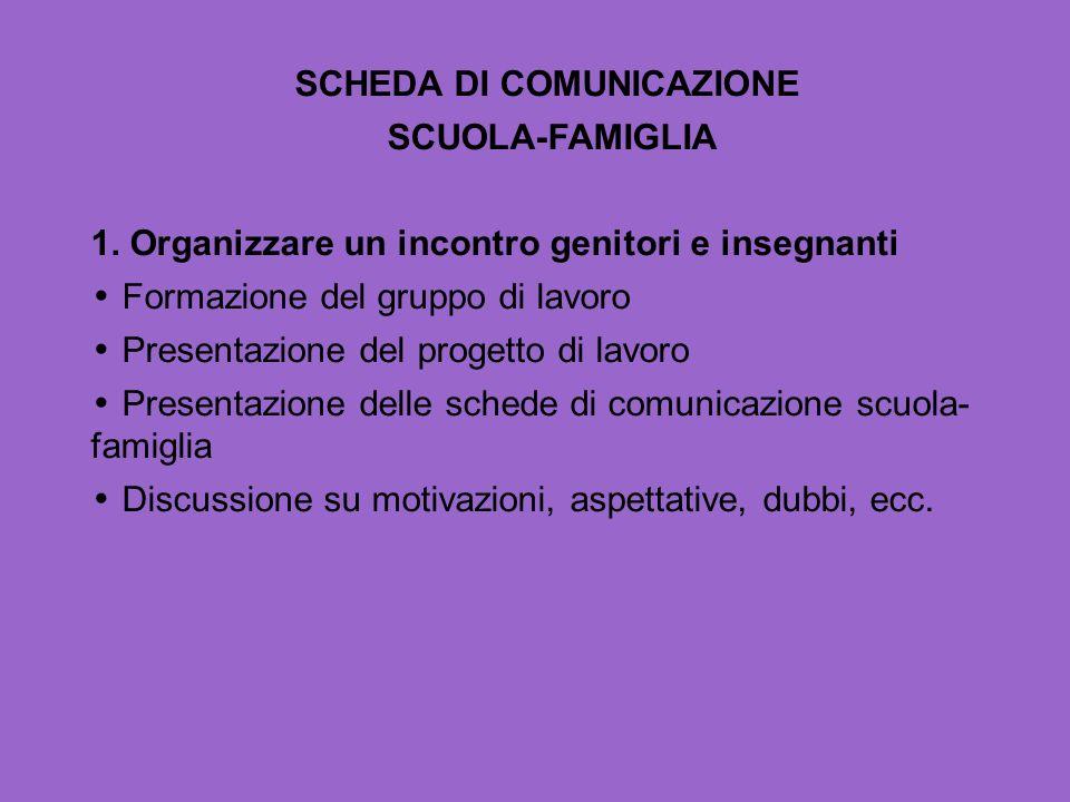 SCHEDA DI COMUNICAZIONE