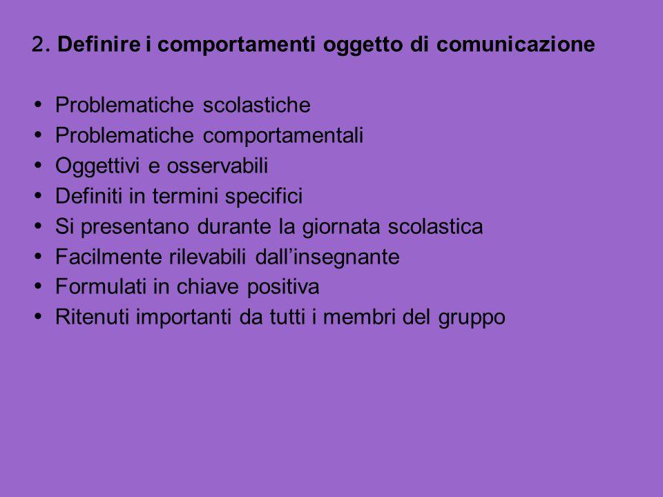2. Definire i comportamenti oggetto di comunicazione