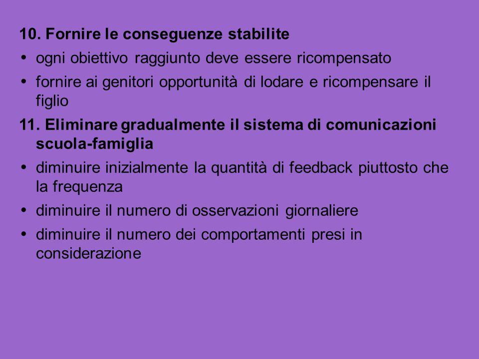 10. Fornire le conseguenze stabilite