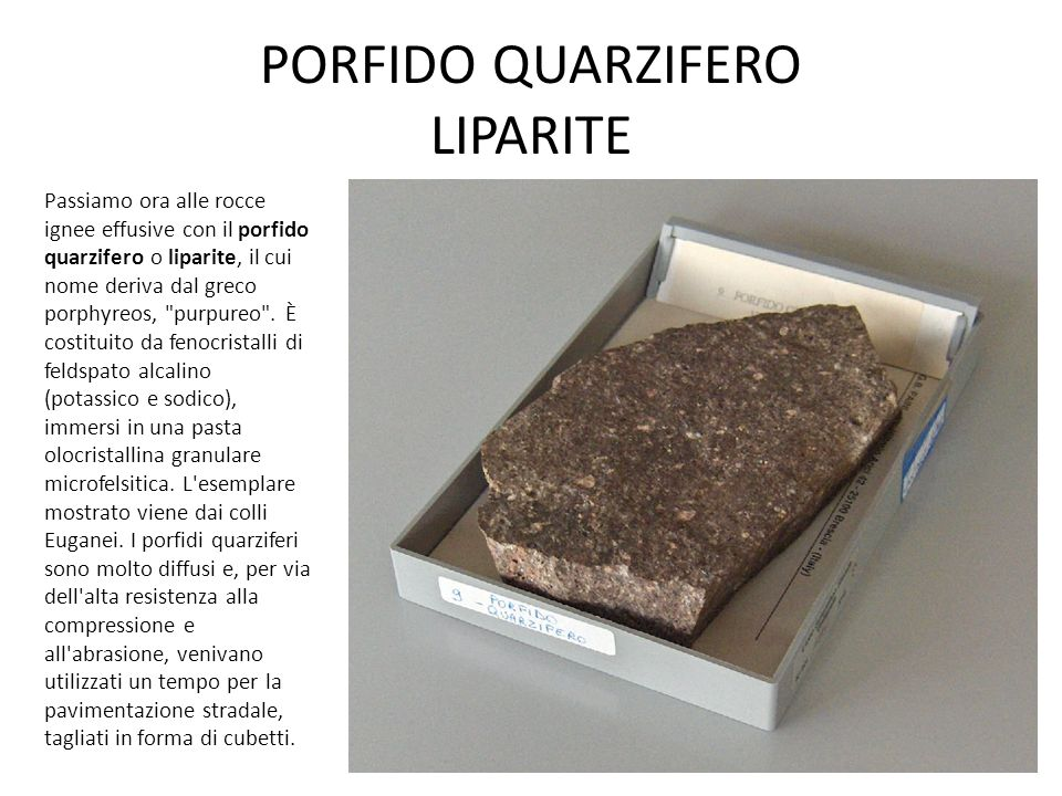 PORFIDO QUARZIFERO LIPARITE