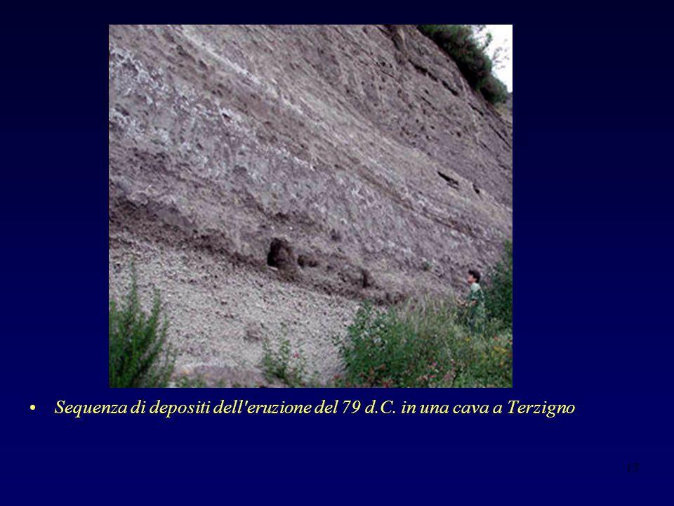 Sequenza di depositi dell eruzione del 79 d.C. in una cava a Terzigno