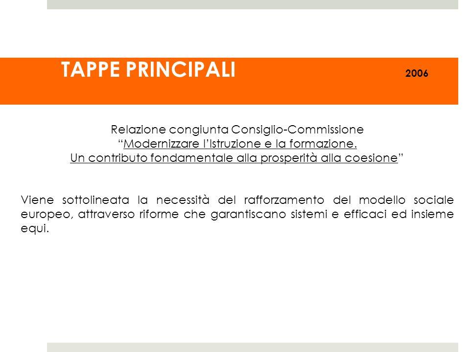 TAPPE PRINCIPALI 2006 Relazione congiunta Consiglio-Commissione