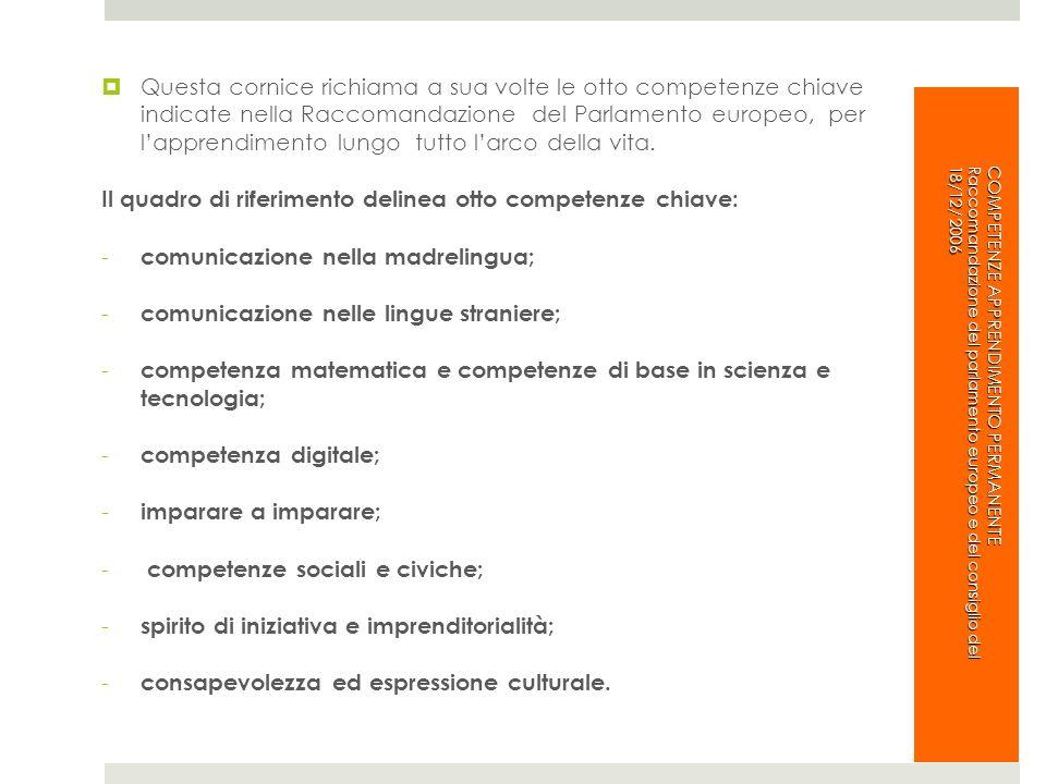 Il quadro di riferimento delinea otto competenze chiave:
