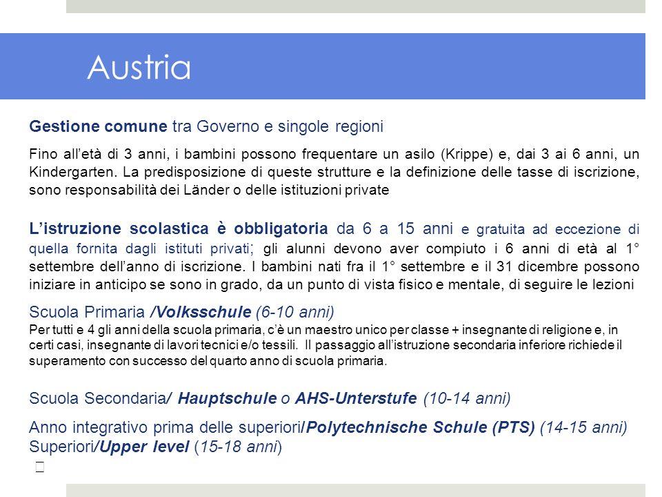 Austria Gestione comune tra Governo e singole regioni