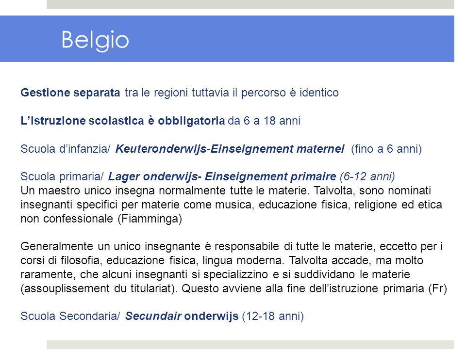 Belgio Gestione separata tra le regioni tuttavia il percorso è identico. L'istruzione scolastica è obbligatoria da 6 a 18 anni.