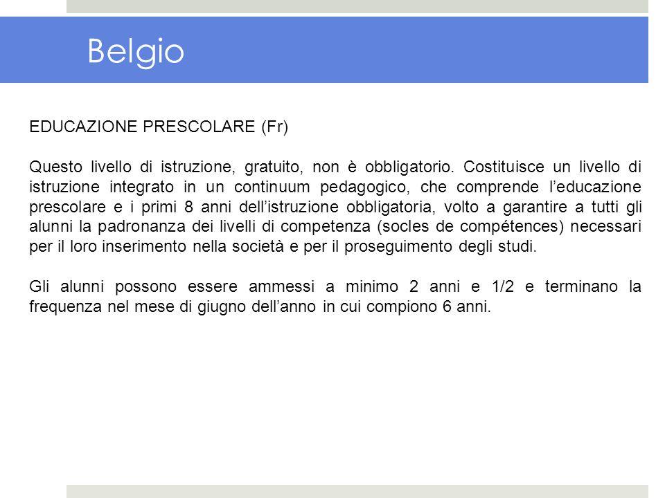 Belgio EDUCAZIONE PRESCOLARE (Fr)