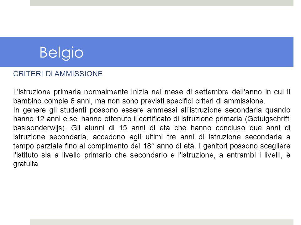 Belgio CRITERI DI AMMISSIONE