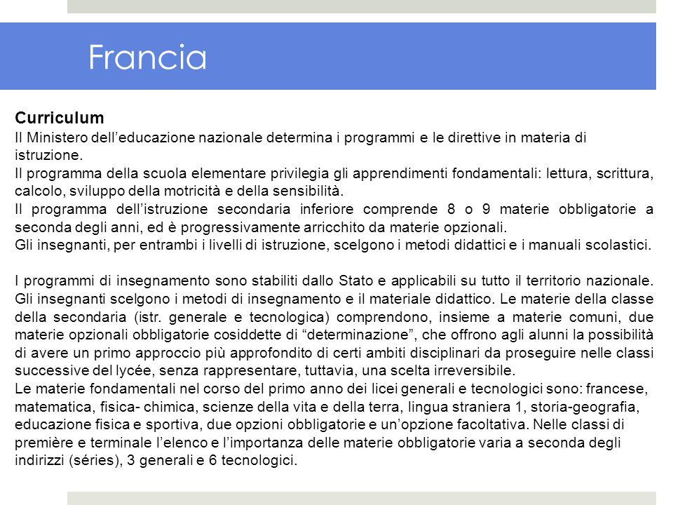 Francia Curriculum. Il Ministero dell'educazione nazionale determina i programmi e le direttive in materia di istruzione.