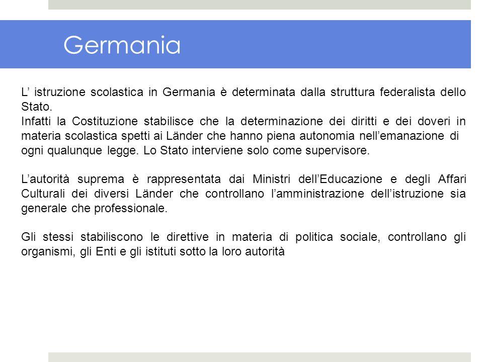 Germania L' istruzione scolastica in Germania è determinata dalla struttura federalista dello Stato.