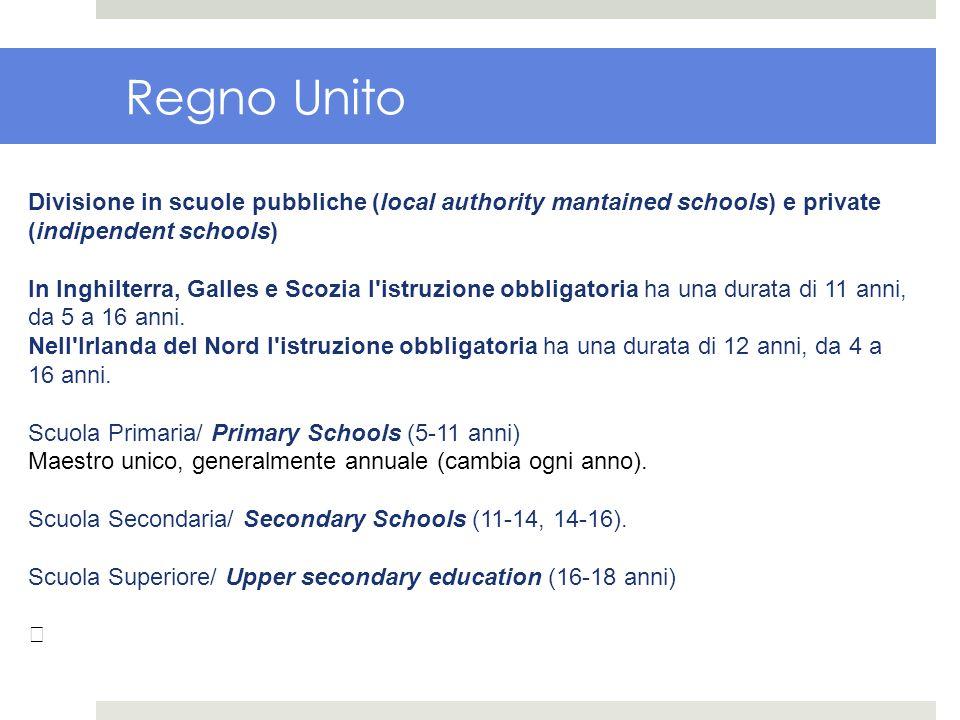 Regno Unito Divisione in scuole pubbliche (local authority mantained schools) e private (indipendent schools)