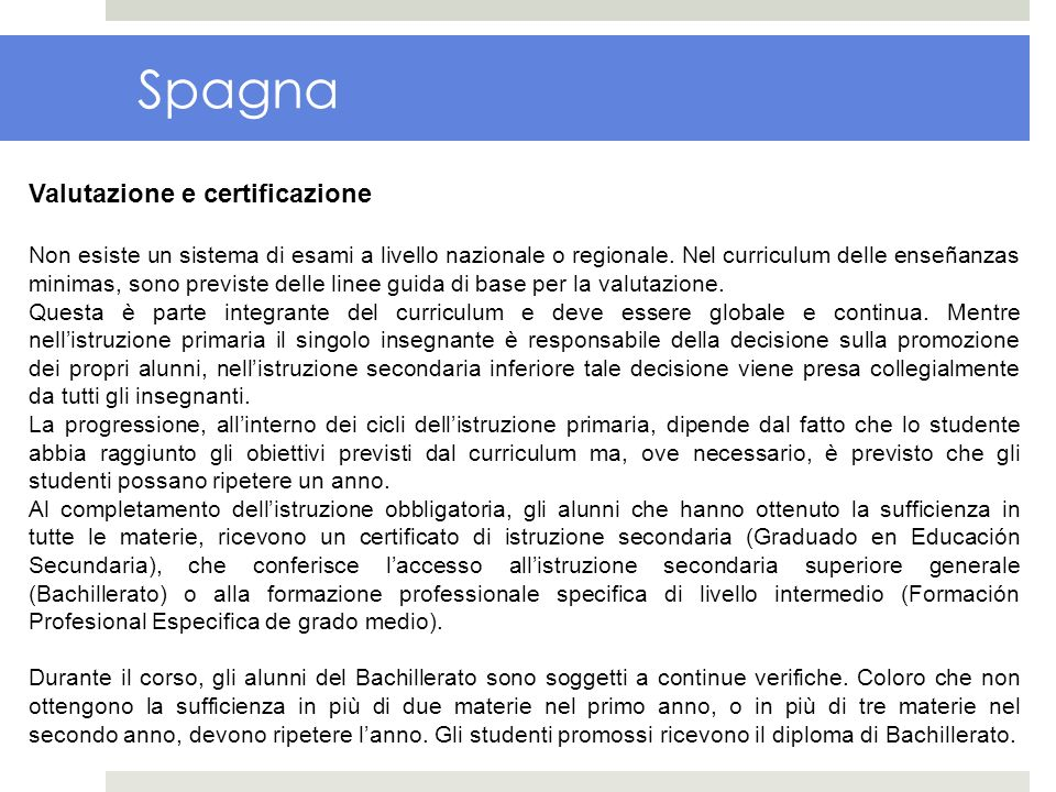 Spagna Valutazione e certificazione
