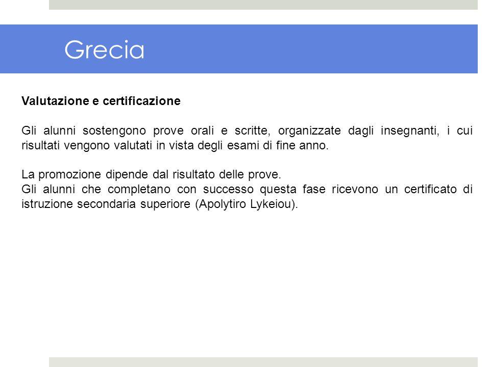 Grecia Valutazione e certificazione