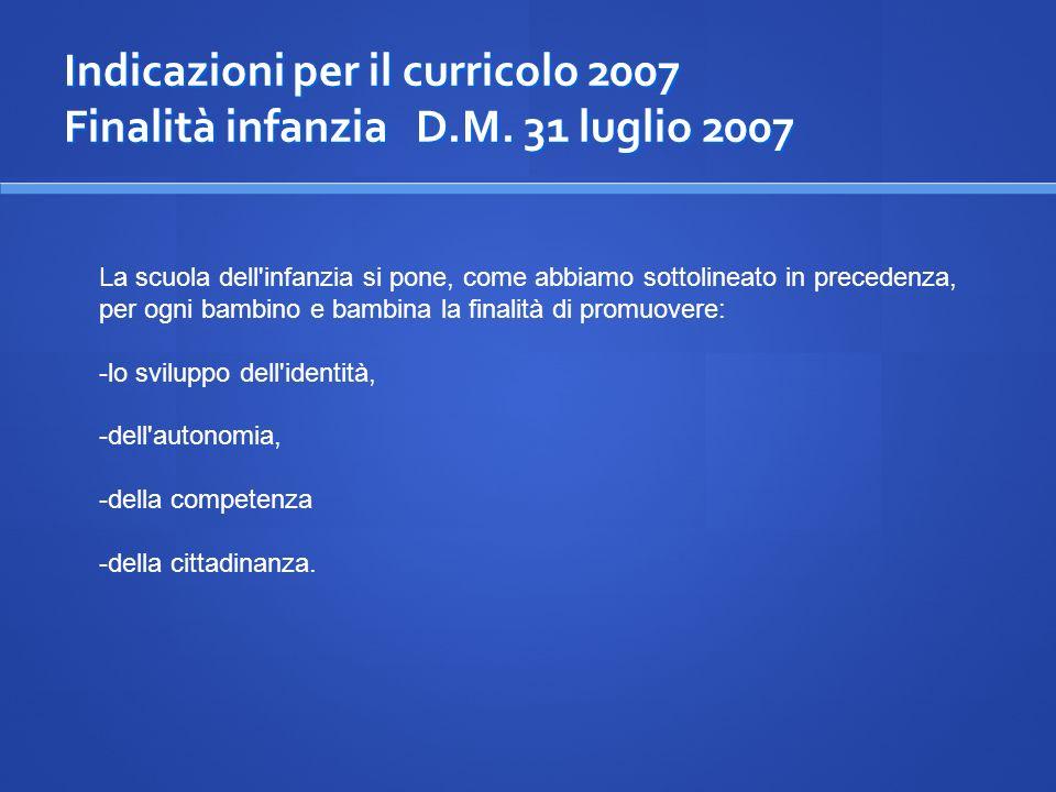 Indicazioni per il curricolo 2007 Finalità infanzia D. M