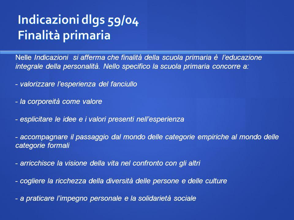 Indicazioni dlgs 59/04 Finalità primaria