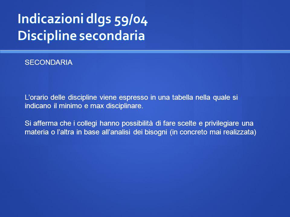 Indicazioni dlgs 59/04 Discipline secondaria