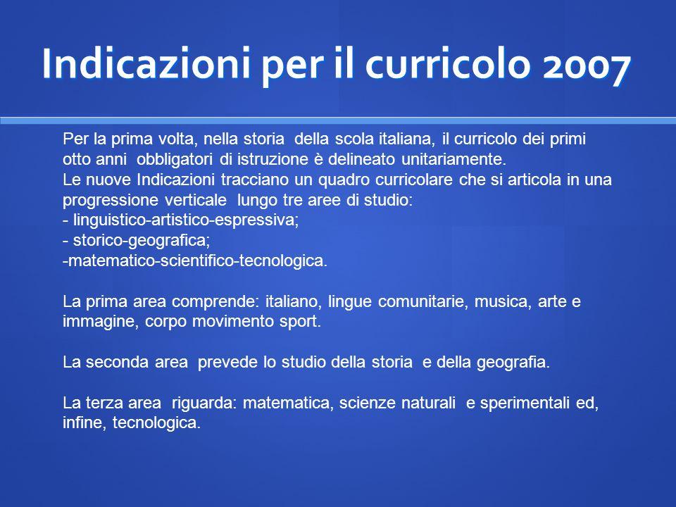 Indicazioni per il curricolo 2007