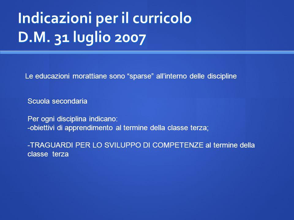 Indicazioni per il curricolo D.M. 31 luglio 2007
