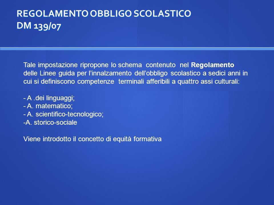 REGOLAMENTO OBBLIGO SCOLASTICO DM 139/07