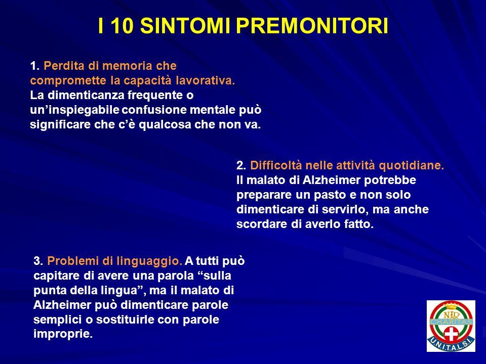I 10 SINTOMI PREMONITORI 1. Perdita di memoria che