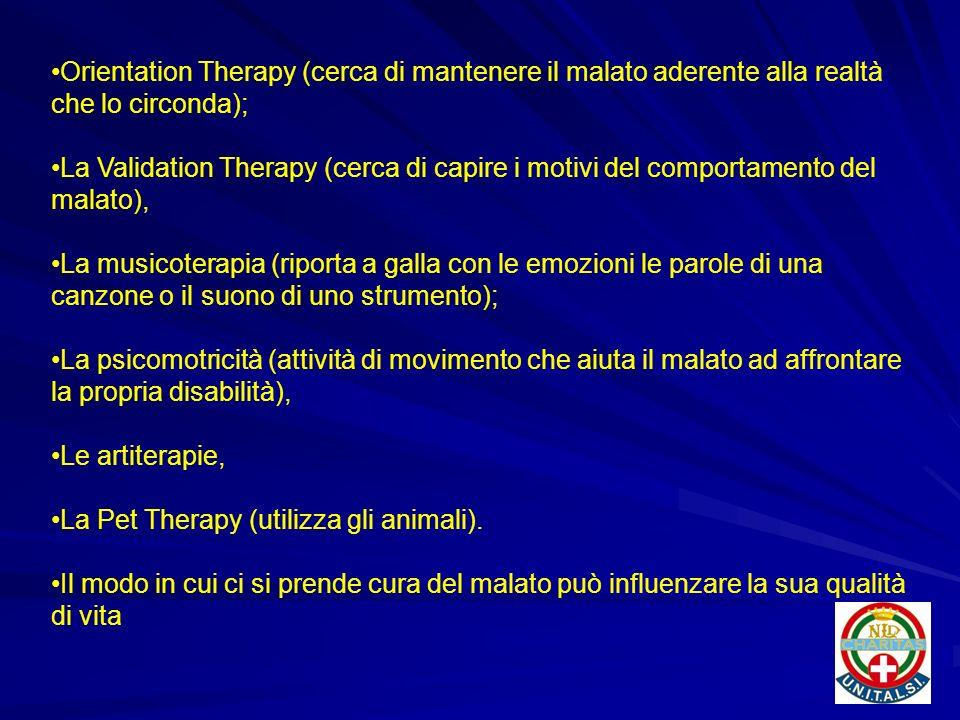 Orientation Therapy (cerca di mantenere il malato aderente alla realtà che lo circonda);