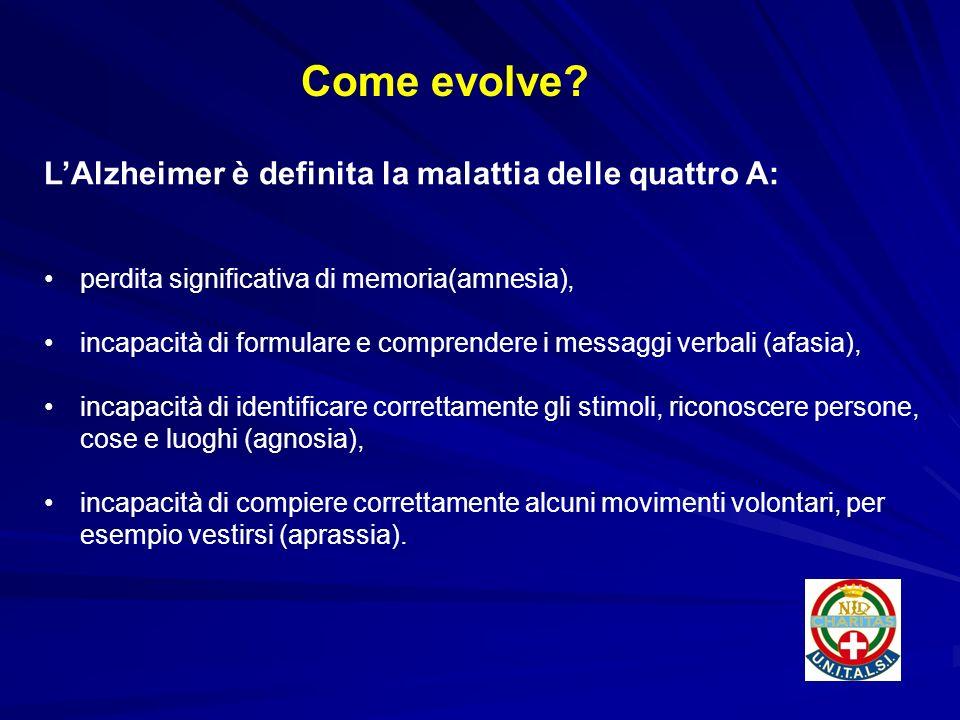 Come evolve L'Alzheimer è definita la malattia delle quattro A:
