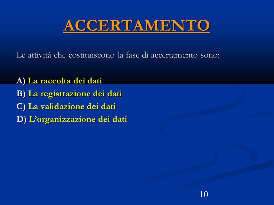 ACCERTAMENTO Le attività che costituiscono la fase di accertamento sono: A) La raccolta dei dati. B) La registrazione dei dati.