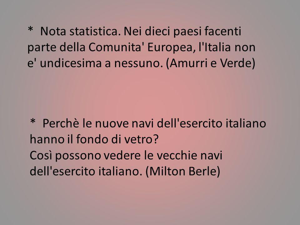 * Nota statistica. Nei dieci paesi facenti parte della Comunita Europea, l Italia non e undicesima a nessuno. (Amurri e Verde)