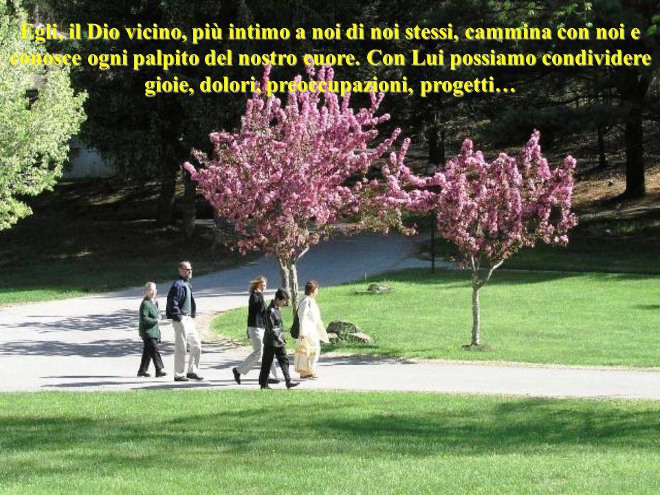 Egli, il Dio vicino, più intimo a noi di noi stessi, cammina con noi e conosce ogni palpito del nostro cuore.