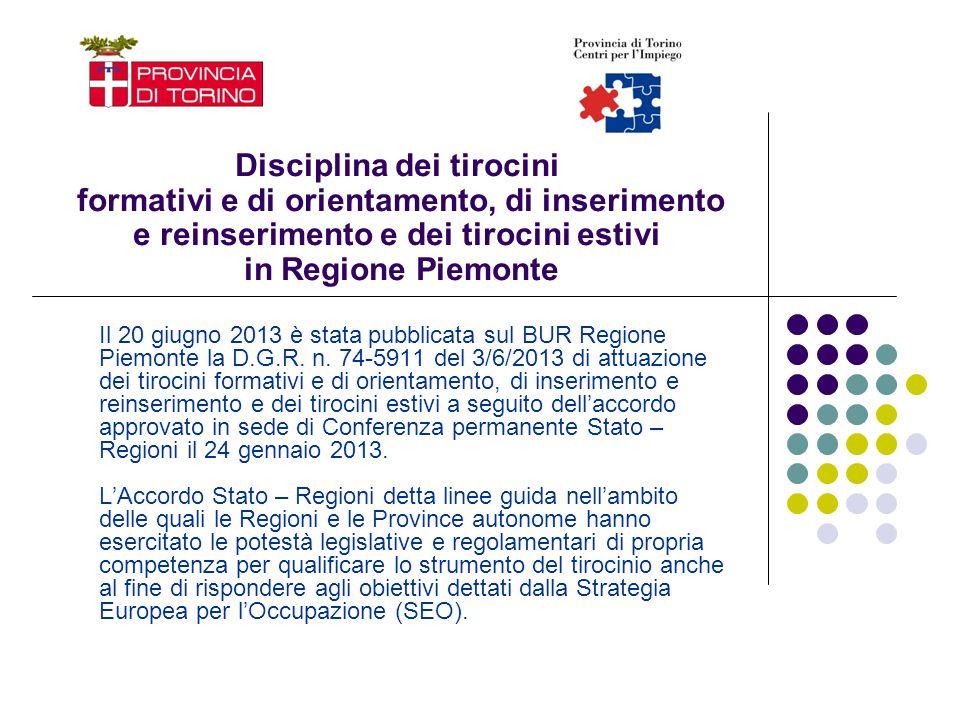 Disciplina dei tirocini formativi e di orientamento, di inserimento e reinserimento e dei tirocini estivi in Regione Piemonte