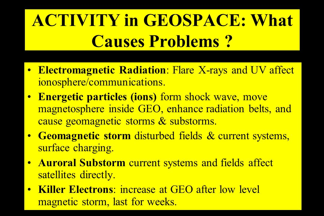 ACTIVITY in GEOSPACE: What Causes Problems