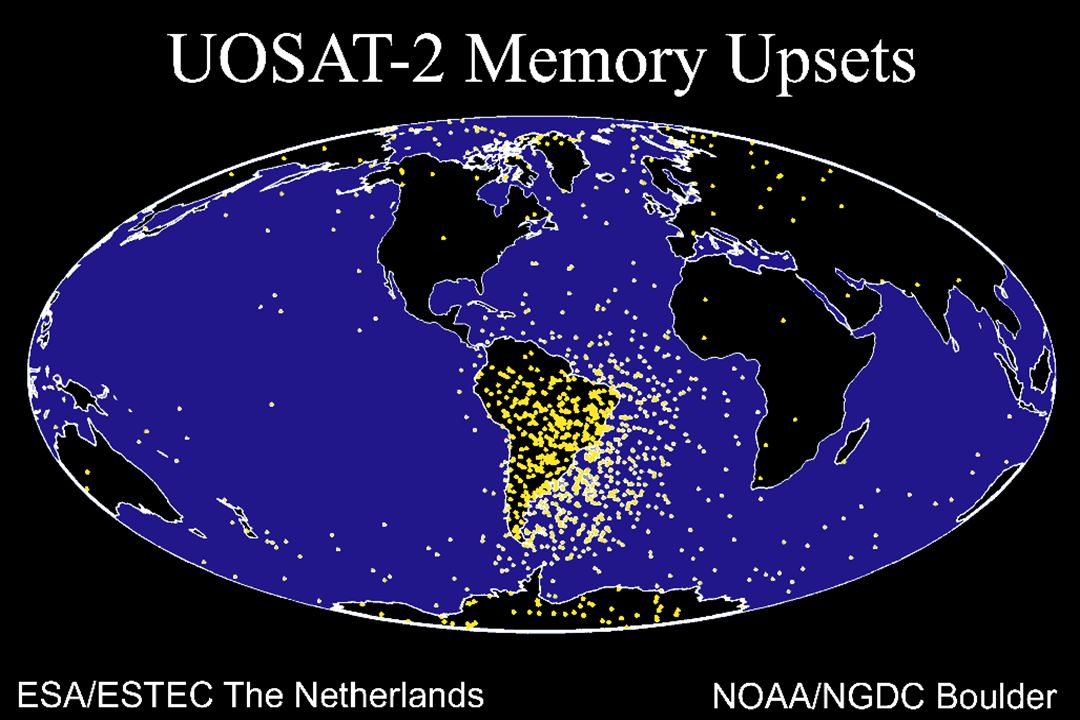 Joe Allen: These LEO satellite anomalies illustrate a mapping of the South Atlantic Anomaly (SAA) and, to a lesser extent, the auroral zone belts.